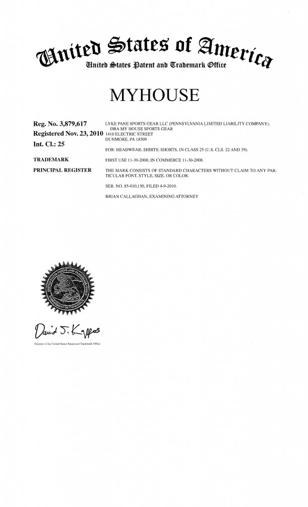 Trademark Application Granted for MYHOUSE. Riddle Patent Law, Scranton, PA, Allentown, PA, King of Prussia, PA