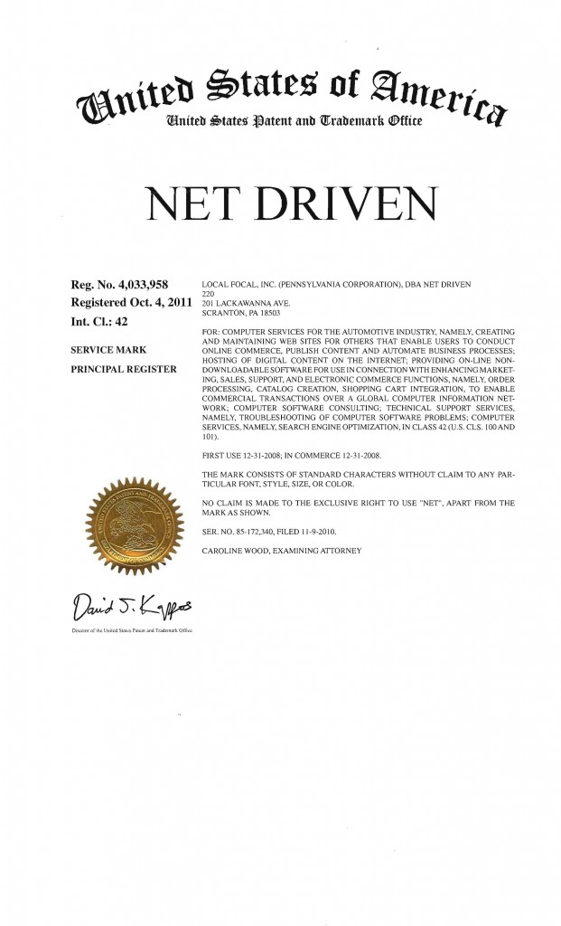 Trademark Application Granted for NET DRIVEN. Riddle Patent Law, Allentown, PA, Scranton, PA, King of Prussia, PA.