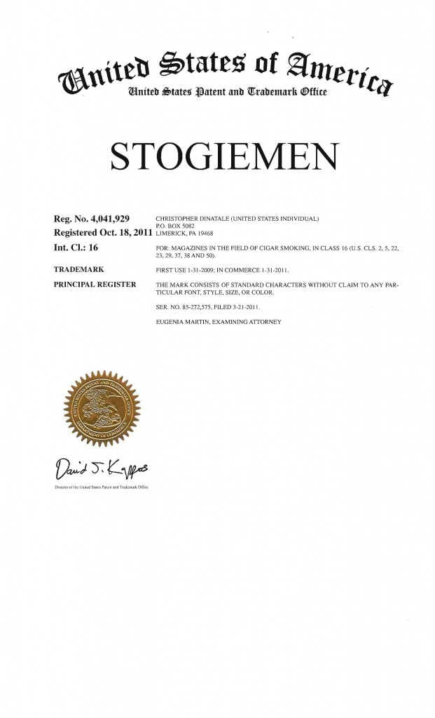 Trademark Application Granted for STOGIEMAN. Riddle Patent Law, Scranton, PA, Allentown, PA, King of Prussia, PA, Limerick, PA.
