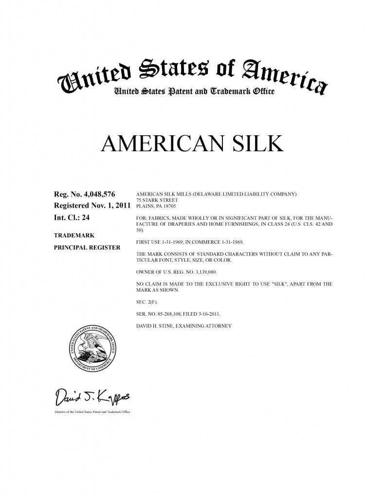 Trademark Application Granted for AMERICAN SILK. Riddle Patent Law, Scranton, PA, King of Prussia, PA, Allentown, PA, Plains, PA.