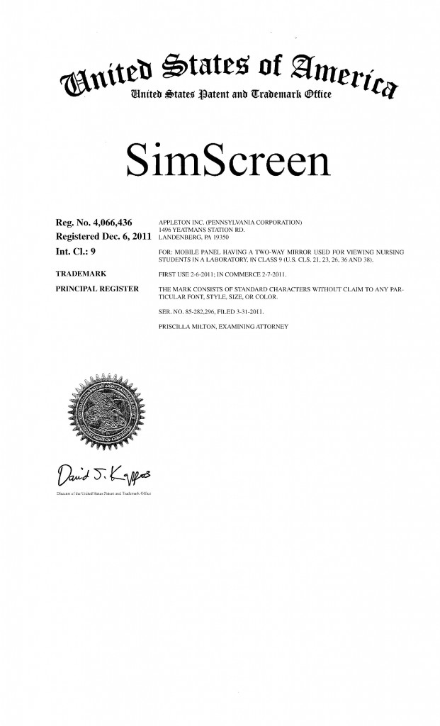 Trademark Application Granted for SIMSCREEN. Riddle Patent Law, Scranton, PA, King of Prussia, PA, Allentown, PA, Landenberg, PA.