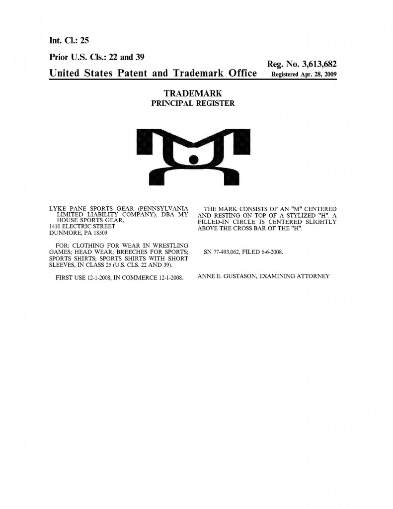 Trademark Granted for MH. Riddle Patent Law, Scranton, PA, King of Prussia, PA, Allentown, PA, Dunmore, PA.