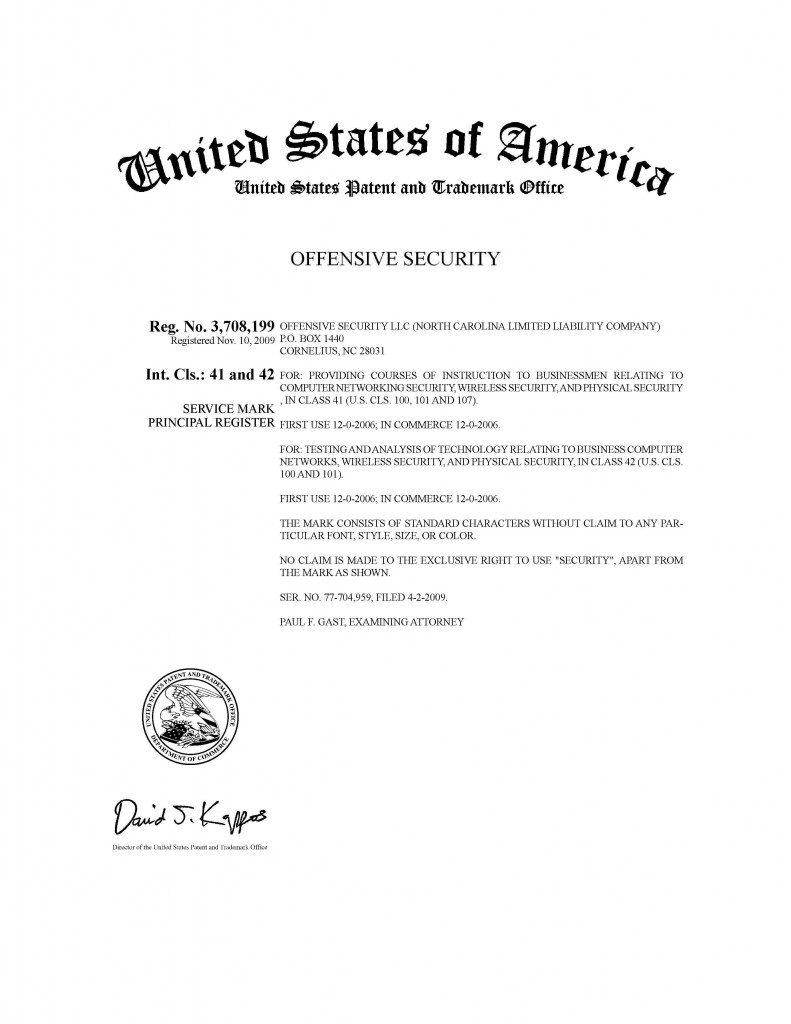 Trademark Application Granted for OFFENSIVE SECURITY. Riddle Patent Law, Scranton, PA, Allentown, PA, King of Prussia, PA, Cornelius, NC.