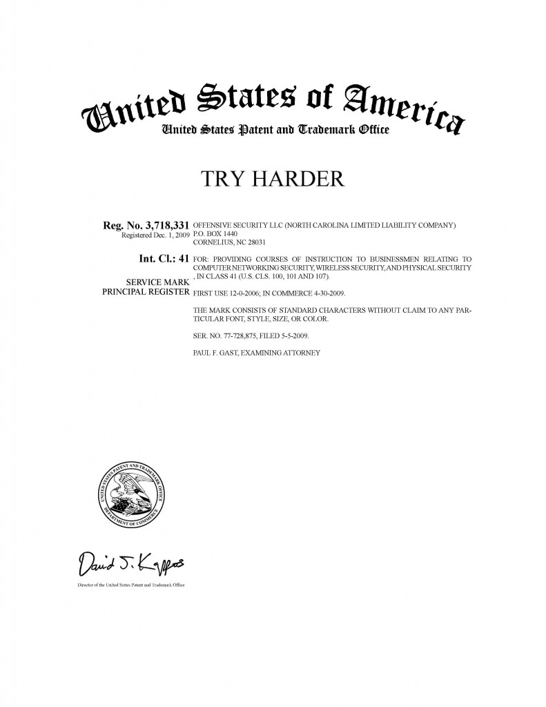 Trademark Application Granted for TRY HARDER. Riddle Patent Law, Allentown, PA, Scranton, PA, King of Prussia, PA, Cornelius, NC.