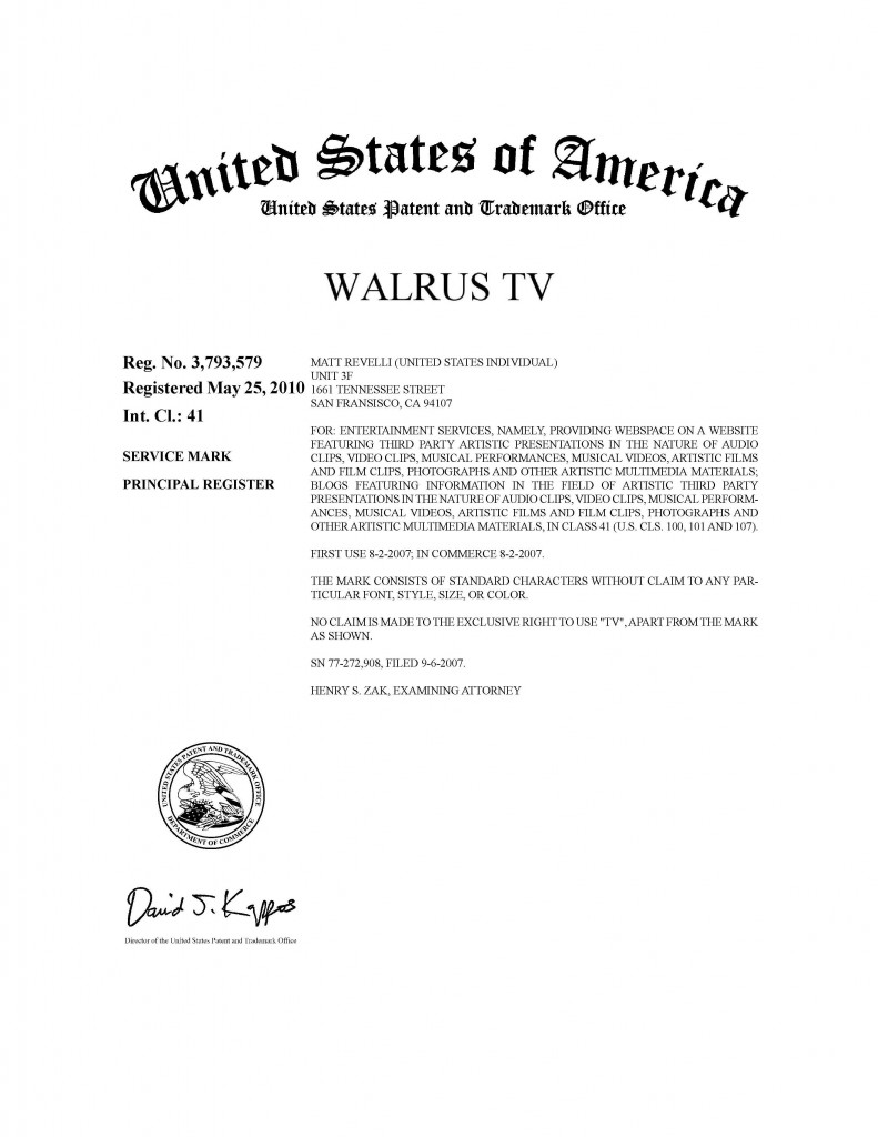 Trademark Application Granted for WALRUS TV. Riddle Patent Law, Scranton, PA, King of Prussia, PA, Allentown, PA, San Francisco, CA.