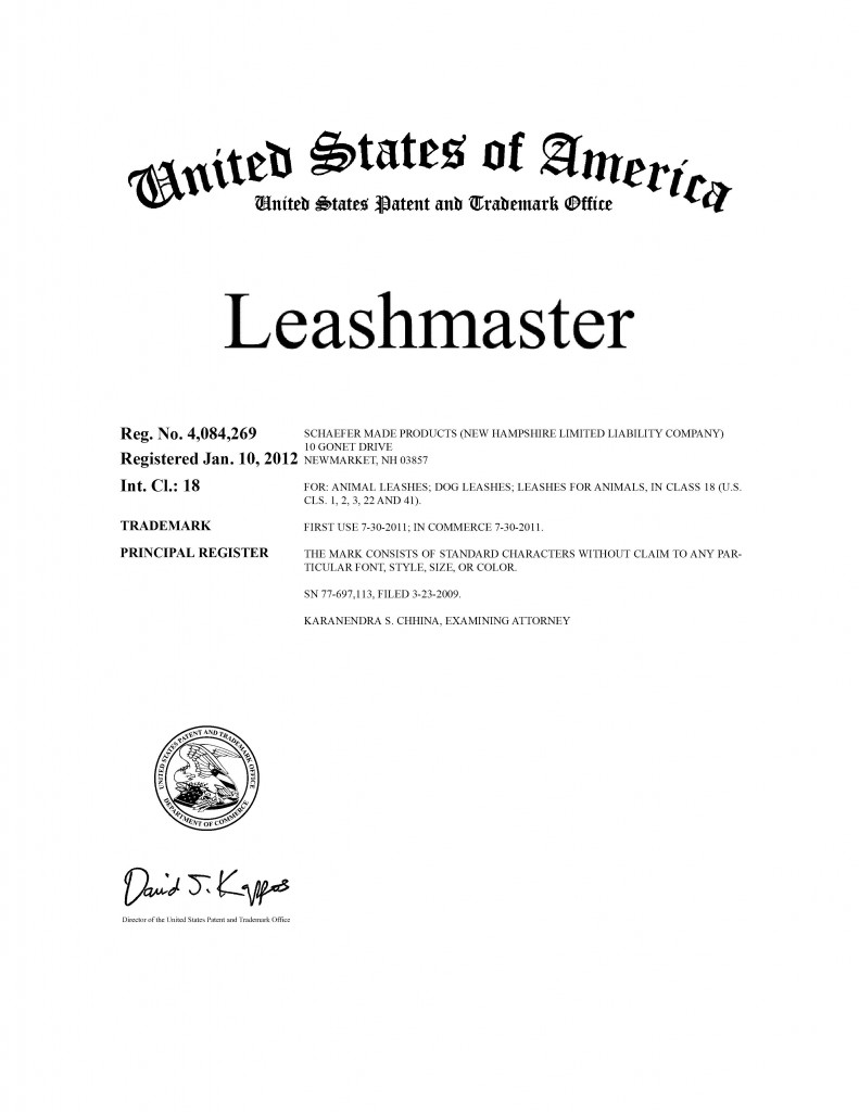 Trademark Application Granted for LEASHMASTER. Riddle Patent Law, Scranton, PA, King of Prussia, PA, Allentown, PA, New Market, NH.