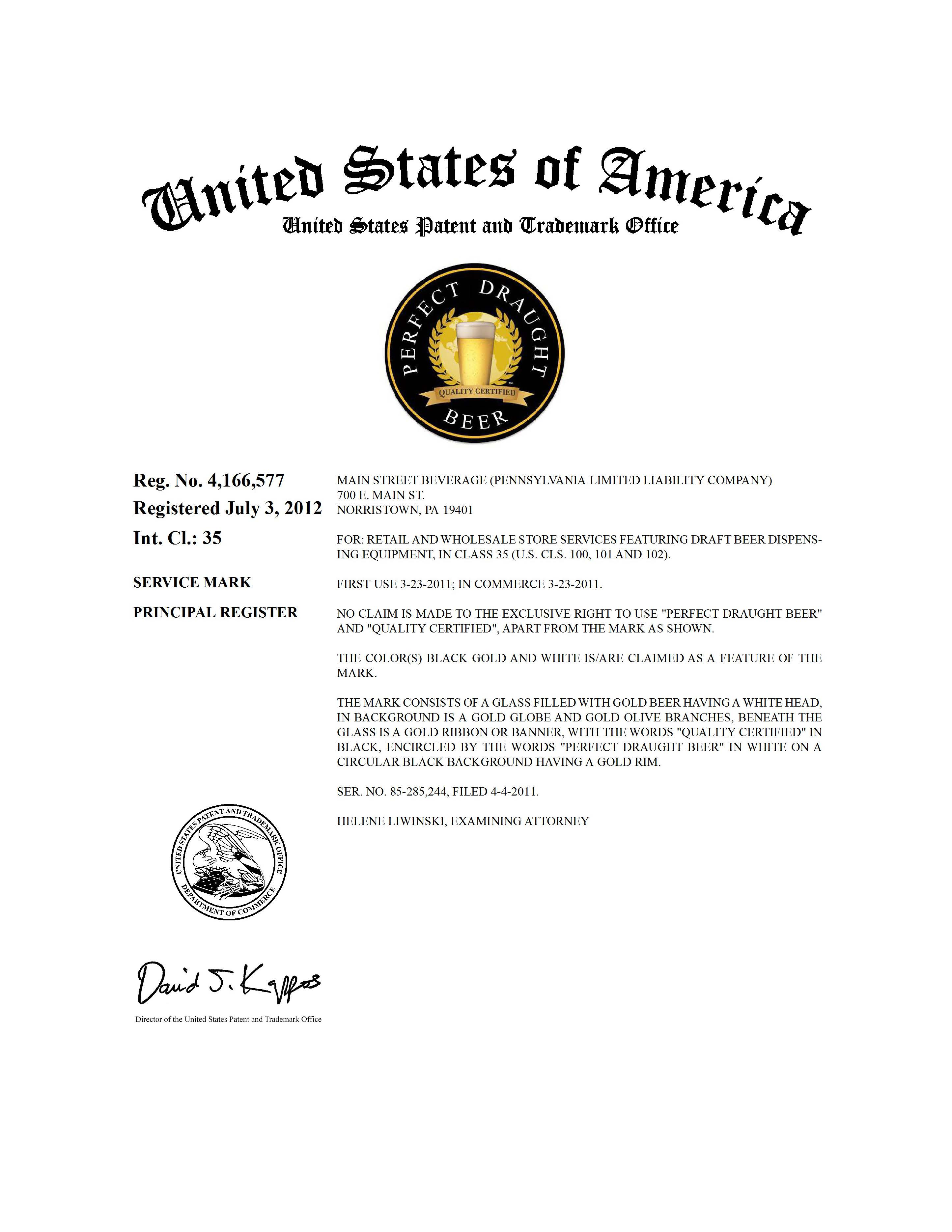 Trademark Application Granted For Perfect Draught Beer Quality