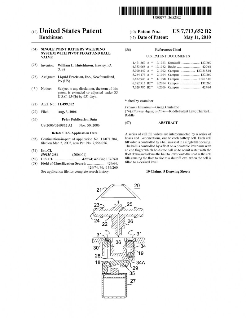 Patent Application Granted to William L. Hutchinson, Riddle Patent Law,Scranton, PA, King of Prussia, PA, Allentown, PA, Hawley, PA.