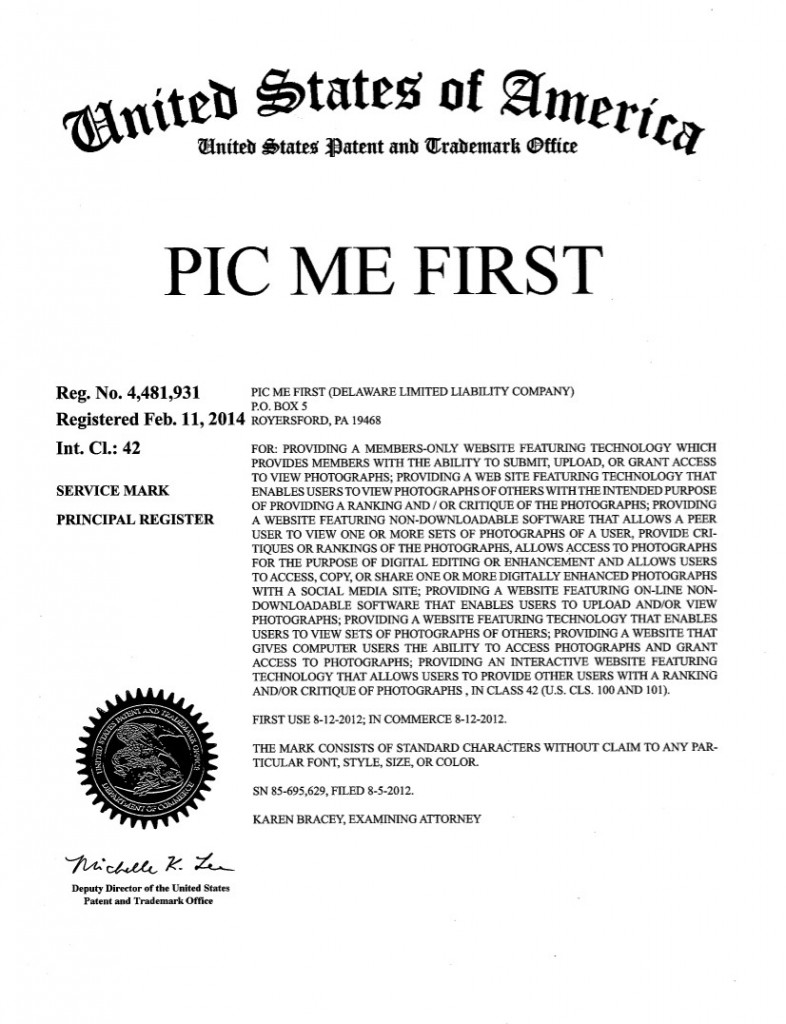 Trademark Application Granted for PIC ME FIRST. Riddle Patent Law, Scranton, PA, King of Prussia, PA, Allentown, PA,  Royersford, PA.
