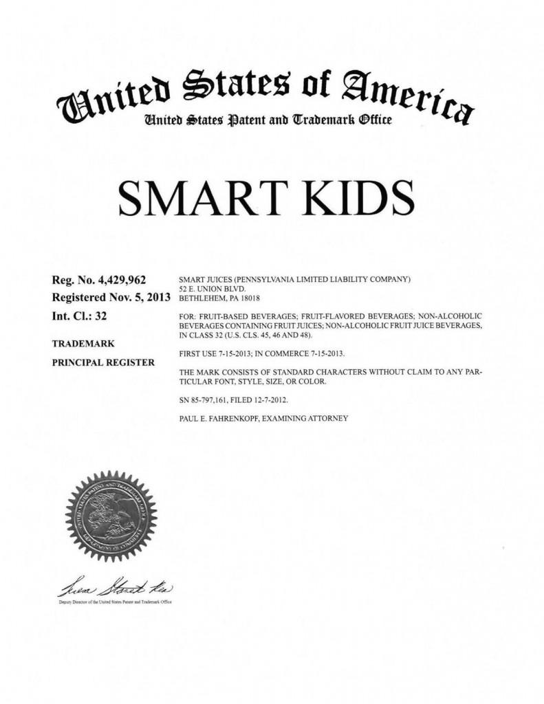 Trademark Application Granted for SMART KIDS. Riddle Patent Law, Scranton, PA, King of Prussia, PA, Allentown, PA, Bethlehem, PA.