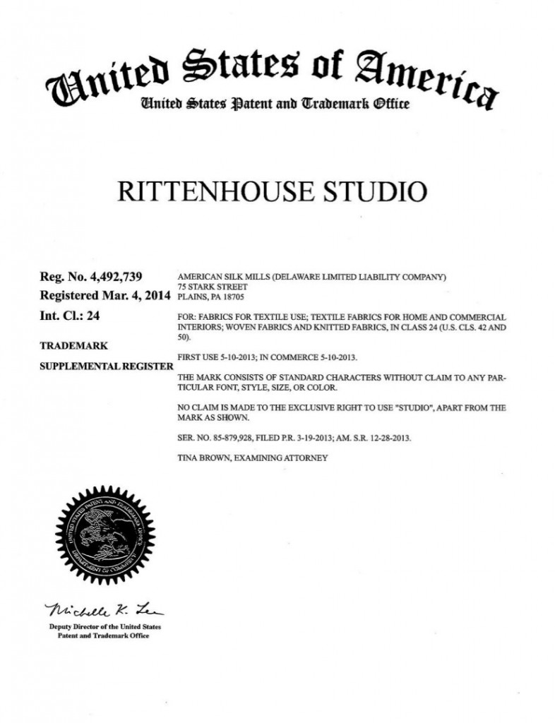 Trademark Granted for RITTENHOUSE STUDIO. Riddle Patent Law, Scranton, PA, King of Prussia, PA, Allentown PA, Plains PA.