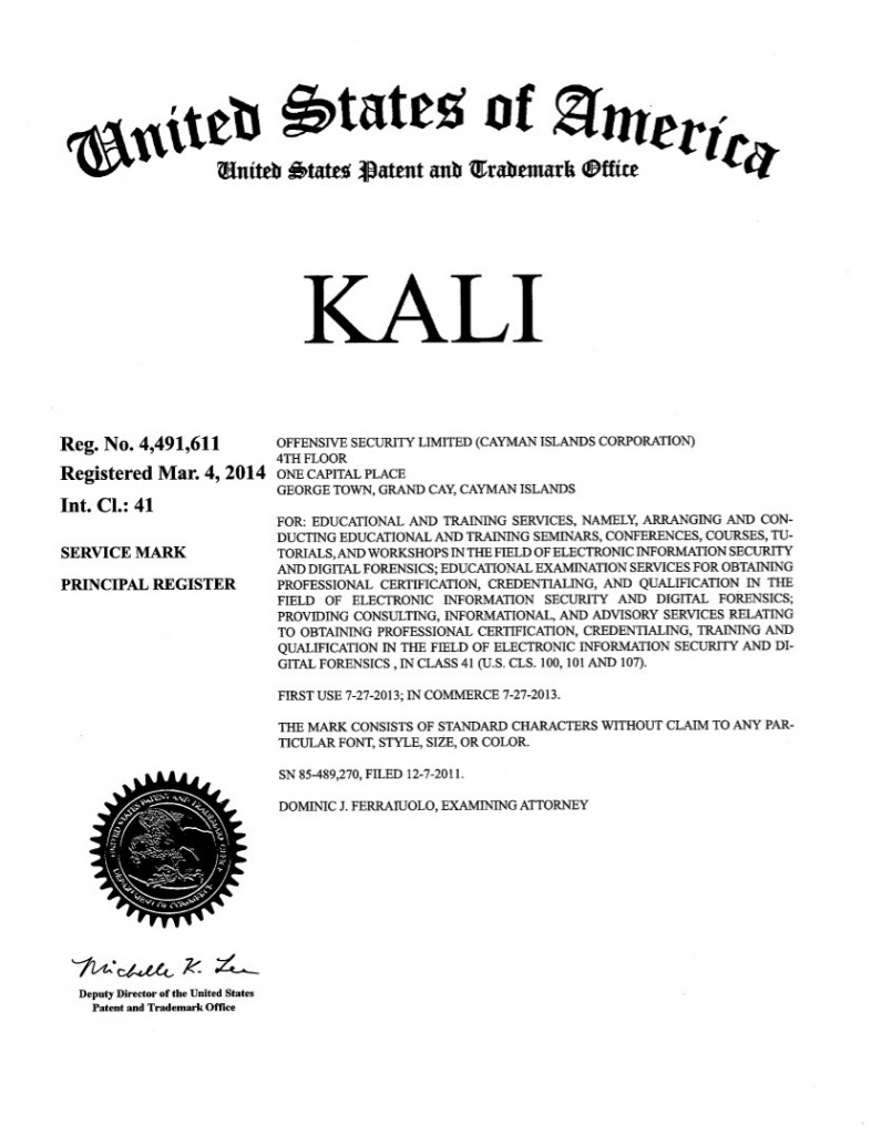 Trademark Registration for KALI. Riddle Patent Law, Scranton, PA, King of Prussia, PA, Allentown, PA, Georgetown, Grand Cay, Cayman Islands.