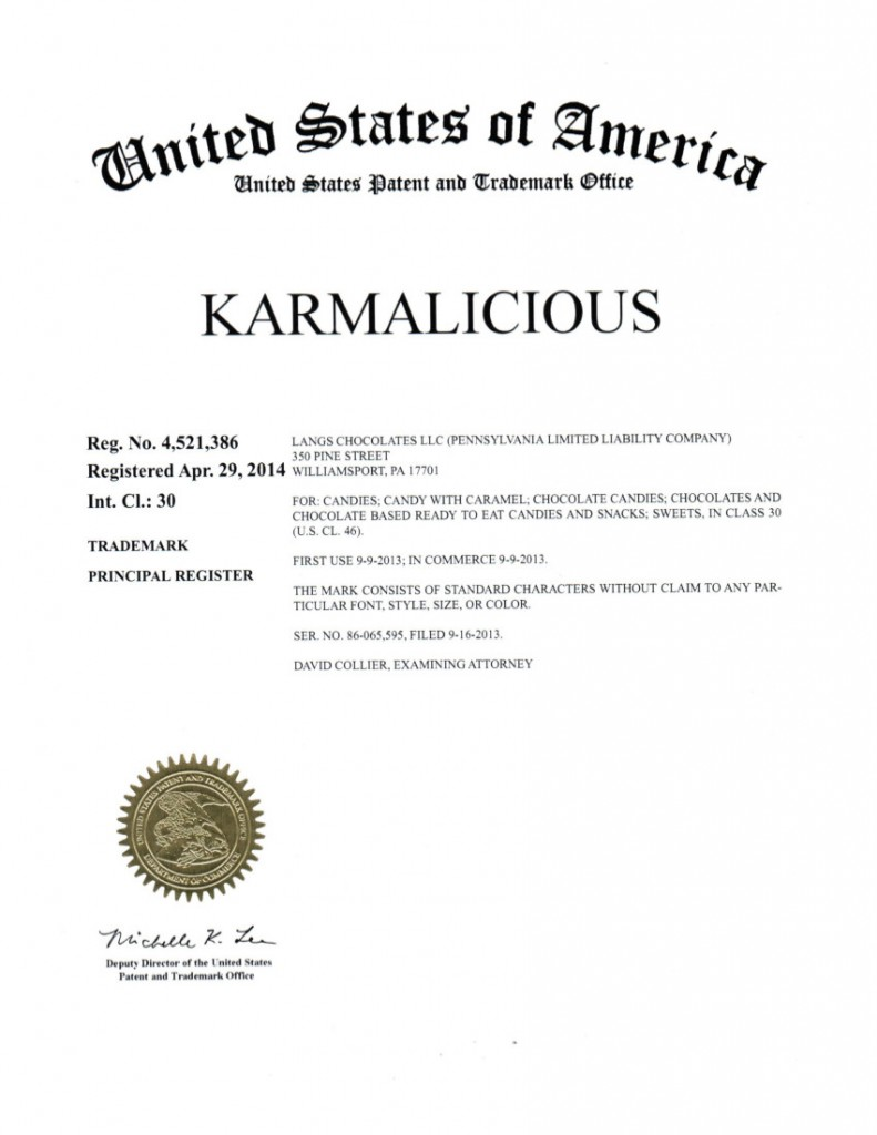 Trademark Registration Granted for KARMALICIOUS. Riddle Patent Law, Scranton, PA, King of Prussia, PA, Allentown, PA, Williamsport, PA.