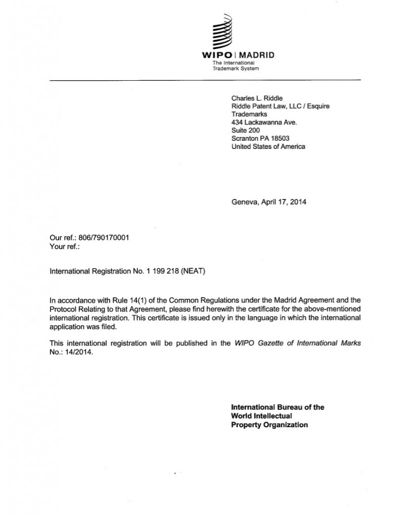 WIPO Application Granted for NEAT. Riddle Patent Law, Scranton, PA, King of Prussia, PA, Allentown, PA, Lancaster, PA.