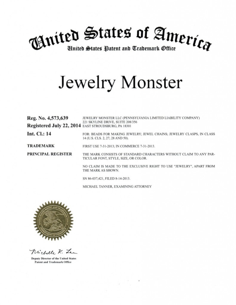 Trademark Registration Granted Jewelry Monster(4573639) Riddle Patent Law, Scranton, PA, King of Prussia, PA, Allentown, PA, East Stroudsburg, PA.