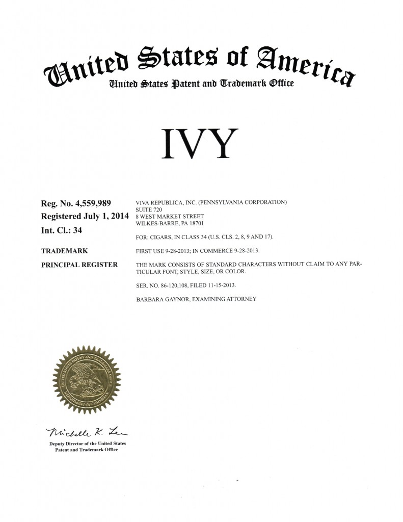 Trademark Registration Granted for IVY(4559989). Riddle Patent Law, Scranton, PA, King of Prussia, PA, Allentown, PA, Wilkes-Barre, PA.