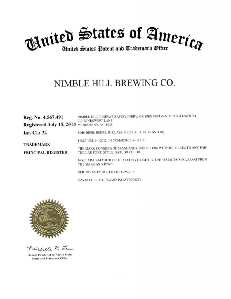 Trademark Application Granted for NIMBLE HILL BREWING CO. (4567491).  Riddle Patent Law, Scranton, PA, King of Prussia, PA, Allentown, PA, Mehoopany, PA.