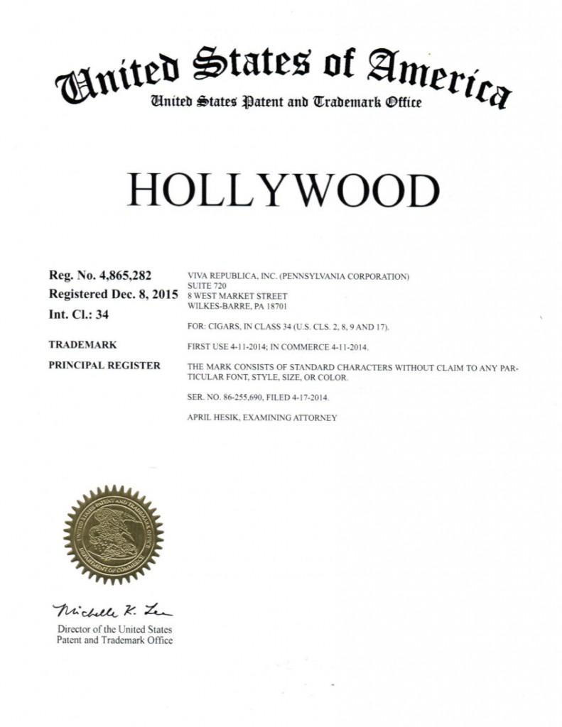 Hollywood TM Certificate 4865282