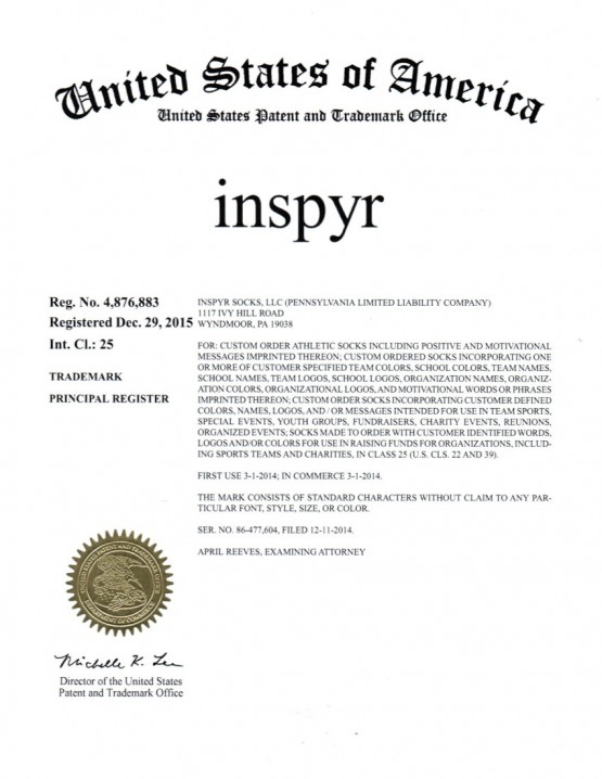 Trademark Application Granted for inspyr. Esquire Trademarks, Scranton, PA, Allentown, PA, Philadelphia, PA, Downingtown, PA