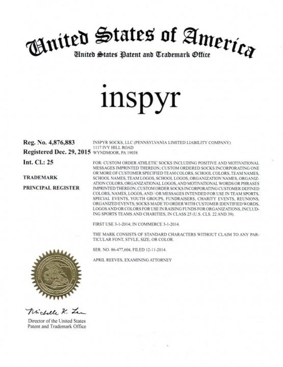 Trademark Application Granted for inspyr. Esquire Trademarks, Scranton, PA, Allentown, PA, Philadelphia, PA, Downingtown, PA