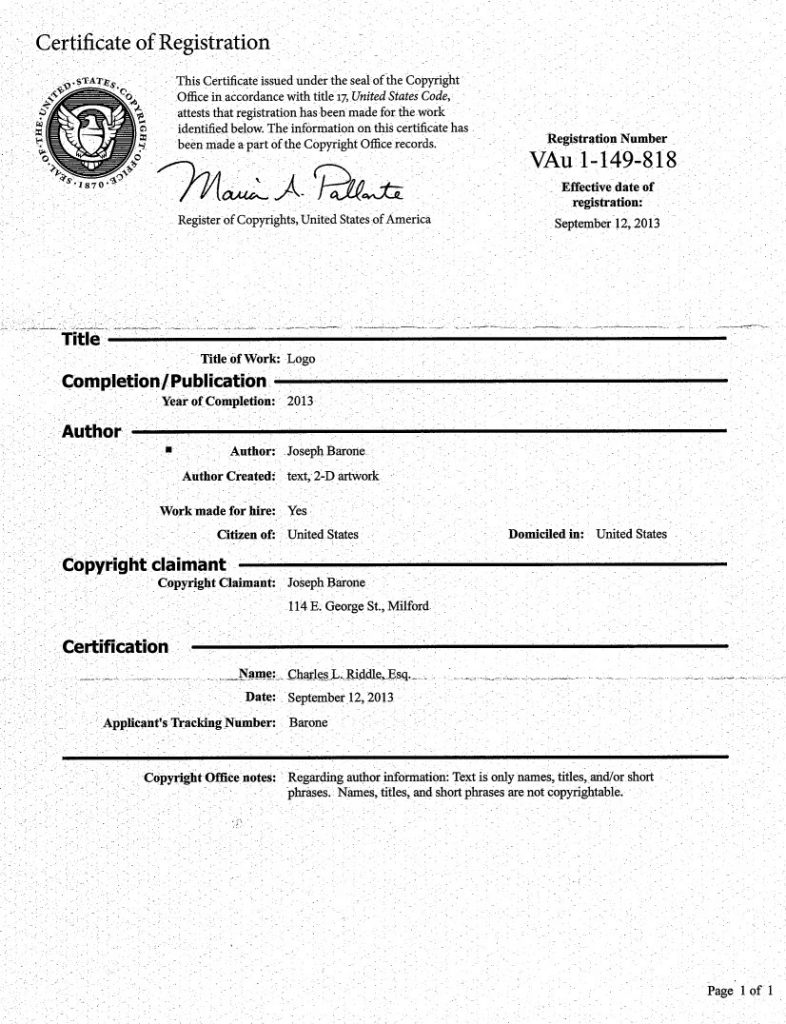 Copyright Registered for Logo, Riddle Patent Law, Scranton, PA, Malvern, PA, Milford, PA, Allentown, PA, Philly, PA