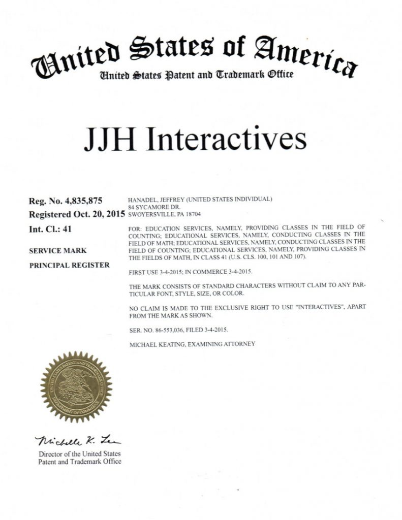 Trademark Registration Approved for JJH Interactives. Riddle Patent Law, Allentown, PA, Philadelphia, PA, Malvern, PA, Philly, PA, Swoyersville, PA
