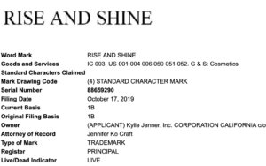 RISE AND SHINE Trademark Application