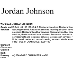 JORDAN JOHNSON Trademark Application
