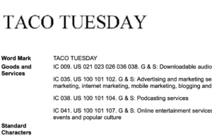 TACO TUESDAY Trademark Application